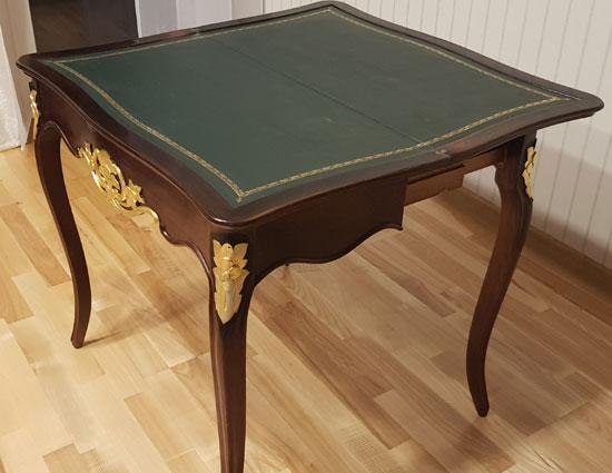 antiker Louis Philippe Klapptisch um 1860 aufgeklappt seitlich